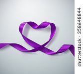 purple ribbon heart. vector... | Shutterstock .eps vector #358648844