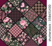 seamless patchwork pattern with ... | Shutterstock .eps vector #358651430