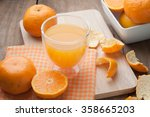 glass of orange juice  on... | Shutterstock . vector #358665203