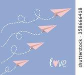origami paper plane set . dash... | Shutterstock .eps vector #358666418