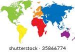 Colored Map Of The World With...