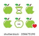 green apple  apple core  bitten ... | Shutterstock .eps vector #358675190