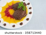 chocolate mousse on plate with... | Shutterstock . vector #358713440