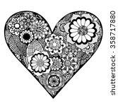 hand drawn heart of flower... | Shutterstock .eps vector #358717880