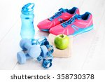 fitness concept with dumbbells... | Shutterstock . vector #358730378