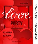 valentines party poster design. ... | Shutterstock .eps vector #358773968