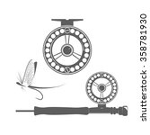 fishing reel and fly icon on... | Shutterstock .eps vector #358781930