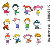 group of kids drawing sketch | Shutterstock .eps vector #358805540