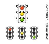 traffic light icon with three...