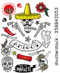 set of vector elements. mexican ... | Shutterstock .eps vector #358842053