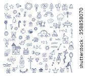 set of hand drawn cute doodles. ... | Shutterstock .eps vector #358858070