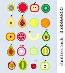 fruit and exotic fruit set   Shutterstock .eps vector #358866800