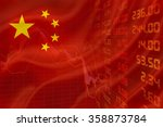 flag of china with a downtrend... | Shutterstock . vector #358873784