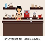 barista holding a cup at coffee ... | Shutterstock .eps vector #358883288