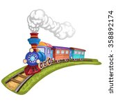 Cartoon  Train With Colorful...