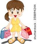 vector little girl with bags | Shutterstock .eps vector #358894244