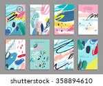 Stock vector set of artistic creative universal cards hand drawn textures wedding anniversary birthday 358894610
