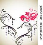 pink bird wallpaper decor | Shutterstock .eps vector #35890006