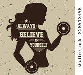 fitness typographic poster.... | Shutterstock .eps vector #358913498