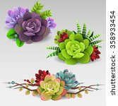 colorful succulents | Shutterstock .eps vector #358933454
