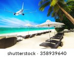 airplane flying over amazing... | Shutterstock . vector #358939640