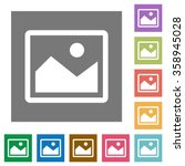 Stock vector image flat icon set on color square background 358945028