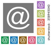email flat icon set on color...