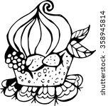 cupcake line art   Shutterstock .eps vector #358945814