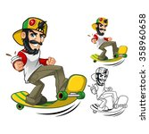 hipster on long board cartoon... | Shutterstock .eps vector #358960658