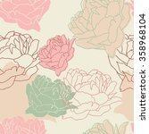 seamless pattern with peonies.... | Shutterstock .eps vector #358968104
