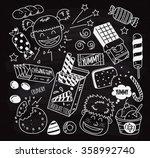 set of snack doodle on chalk... | Shutterstock .eps vector #358992740