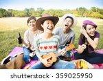 happy young friends enjoying... | Shutterstock . vector #359025950