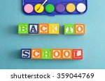 back to school spelled with... | Shutterstock . vector #359044769