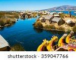 view of uros floating islands...   Shutterstock . vector #359047766