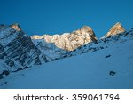 Stock photo sunrise in mountain winter french alps 359061794