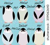 funny penguins on blue... | Shutterstock . vector #359062640
