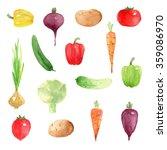 isoated vegetables set tomato... | Shutterstock . vector #359086970