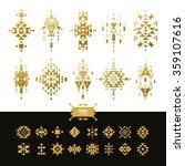 vector tribal elements gold... | Shutterstock .eps vector #359107616