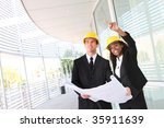 a young man and woman working...   Shutterstock . vector #35911639