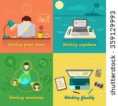 freelance design concept set... | Shutterstock .eps vector #359129993