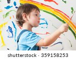 child draws colored paint spots ... | Shutterstock . vector #359158253