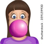 girl inflates a ball of chewing ... | Shutterstock .eps vector #359159930