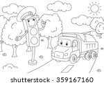 cartoon lorry with traffic... | Shutterstock . vector #359167160
