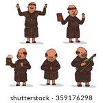 vector set of monks in brown... | Shutterstock .eps vector #359176298