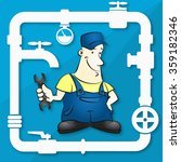repairman plumber with a wrench ... | Shutterstock .eps vector #359182346