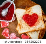 Toast With Strawberry Jam In A...