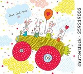 cheerful rabbits ride on car... | Shutterstock .eps vector #359219003