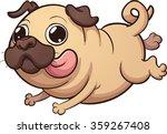 happy cartoon pug running.... | Shutterstock .eps vector #359267408