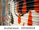 spray painted graffiti on metal ... | Shutterstock . vector #359303018