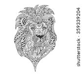 Hand Drawn Lion With Ethnic...